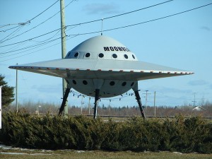 Novelty UFO at the visitor's center in Moonbeam, Ontario, Canada.